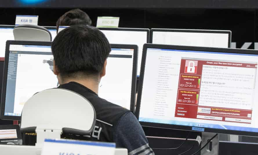 Employees at South Korea's internet and security agency watch for possible malware attacks.