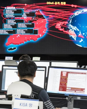 Employees monitor possible ransomware cyber-attacks at the Korea Internet and Security Agency (Kisa) in Seoul, South Korea, on 15 May.