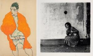 Left, Standing Male Figure (Self-Portrait) by Egon Schiele and Polka Dots, Providence, Rhode Island, by Francesca Woodman.