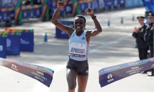 Kenya's Joyciline Jepkosgei crosses the line to win the women's elite race in New York