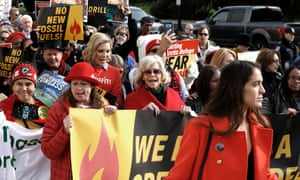 Abigail Disney, June Diane Raphael and Jane Fonda demonstrate outside the Russell US Senate office building during Fire Drill Friday in November.
