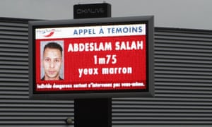 A billboard in Mulhouse, eastern France, displays a wanted photo of Salah Abdeslam
