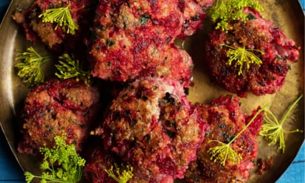 Unbeetable: beetroot and lamb patties.