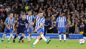 Brighton & Hove Albion's Pascal Gross scores his side's first goal of the game from the penalty spot.