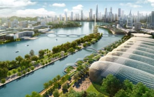 A render of the Meixi Lake development, to west of central Changsha