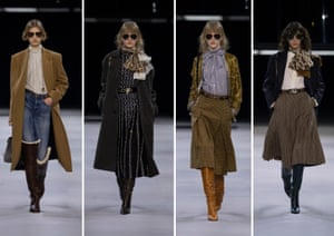 CelineA glass box suspended over the runway lowered and out came a model wearing a knee-length pleated tweed skirt, silk blouse, black blazer, all accessorised with logo silk scarf, high boots and aviator sunglasses. Inspired by an archive 70s Celine campaign, it was the look of the bourgeois Parisian woman of the 70s. Then followed different versions of this look: check culottes, horse-bit belts, cable knitwear, a silk lady like dress. The relaxed version of this collection saw skinny jeans worn with over-the-knee wedged boots, teamed with variations on tailored blazers and shearling jackets