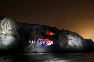 Dover, UK: a farewell message projected on the white cliffs of Dover