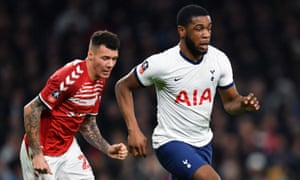 Japhet Tanganga, in action in the FA Cup against Middlesbrough, has been at Tottenham since he was 10.