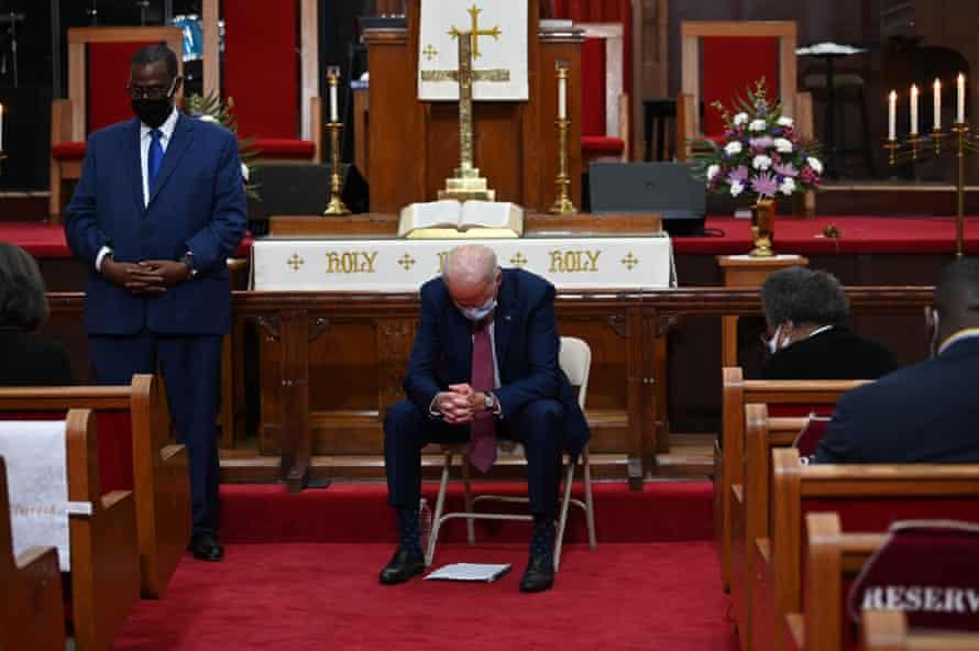 Biden prays as he meets religious leaders at Bethel AME Church in Wilmington, Delaware in June.