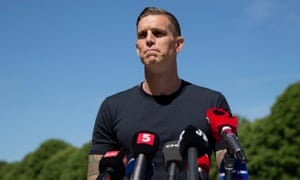 Daniel Agger speaking at a press conference