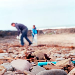 Clean sweep: 'gleaners' collecting fragments of plastic rubbish.