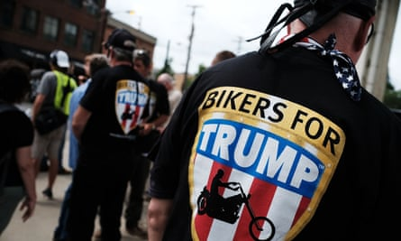 Members of the Bikers for Trump motorcycle group attend a rally for Donald Trump on the first day of the Republican national convention on 18 July in Cleveland.