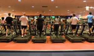 A4DBWC (L) Licensed six runners on treadmills running Caption Modern Gym By Robert Stainforth Releases Model: NO / Property: NO