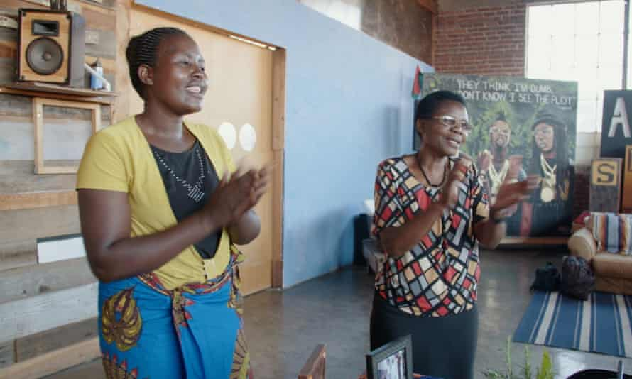 Still from the documentary The Ants and The Grasshopper showing Anita Chitaya on the left, and Esther Lupafya, on the right.