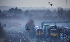 Northern rail trains sit at Manchester's Newton Heath depot.