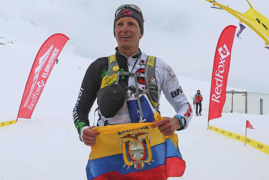 Extreme runner Karl Egloff of Ecuador after winning a race to the western summit of Mount Elbrus in Russia.