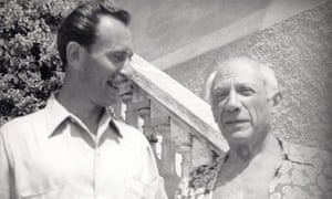 Stanley Stanley, left, with Picasso in the south of France, 1954.