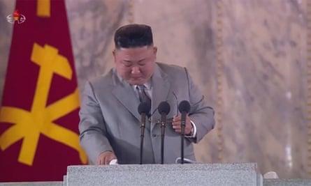 Kim Jong-un cries during speech