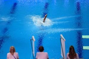 Gwangju, South Korea: Venezuela's Maria Betancourt competes in the women's 10-metre platform diving event during the world championships at Nambu aquatics centre
