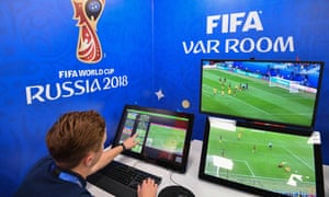 A view of the video assistant refereeing (VAR) operation room in Moscow.