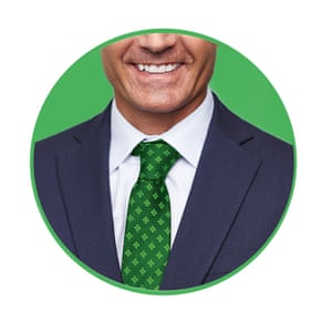 Smiling man in green tie cut-out inside green-rimmed circle