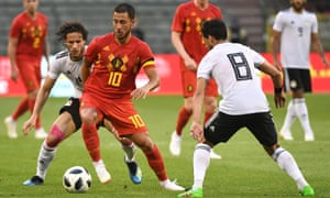 Eden Hazard takes on the Egypt defence during a pre-World Cup warm-up match