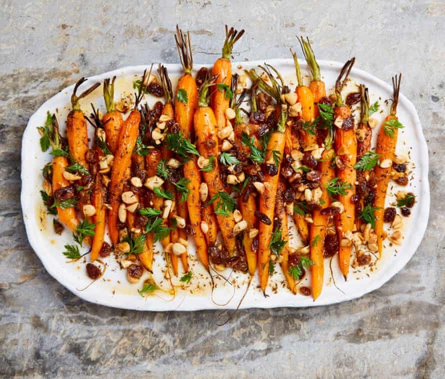 Yotam Ottolenghi's roast carrots with a sweet-and-sour dressing.