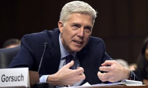 Supreme Court justice nominee Neil Gorsuch during a Senate judiciary committee hearing on 21 March.
