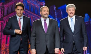 Justin Trudeau, leader of the Liberal Party of Canada; Thomas 'Tom' Mulcair, leader of the New Democratic Party; and Conservative Leader Stephen Harper