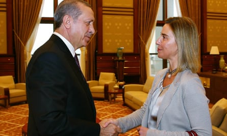 Turkish President Recep Tayyip Erdogan meets EU foreign affairs and security policy commissioner Federica Mogherini in Ankara