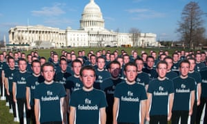 In this file photo taken on April 10, 2018 One hundred cardboard cutouts of Facebook founder and CEO Mark Zuckerberg stand outside the US Capitol in Washington, DC.