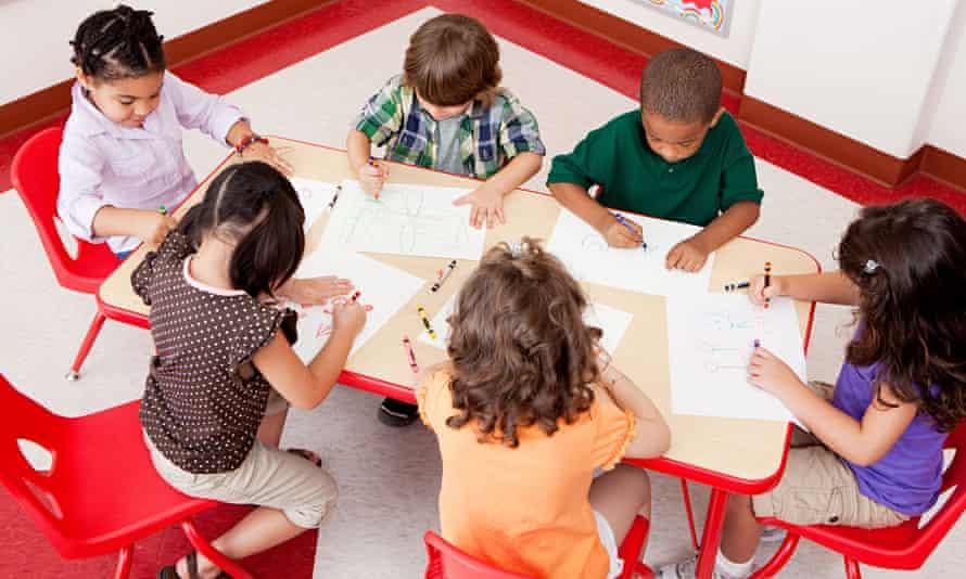 Children drawing at school