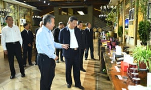 The Chinese president, Xi Jinping, visiting a vineyard in north-west China