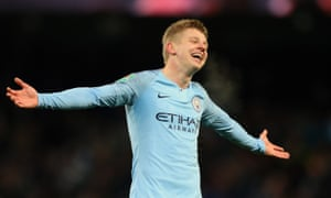 Zinchenko celebrates after he scores his team's fourth goal.