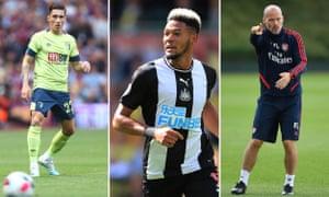 Bournemouth's Harry Wilson; Newcastle's Joelinton; Arsenal coach Freddie Ljungberg.
