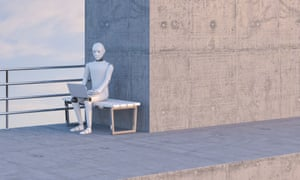 Robot sitting on bench, using laptop