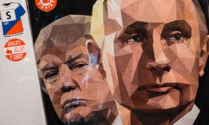 A t-shirt featuring Donald Trump and Vladimir Putin on sale at a souvenir shop in St Petersburg.