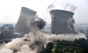 Demolition of coal-fired units in Chiping County, east China's Shandong Province following a move by local government to clean up illegal constructions that violate environmental standards.
