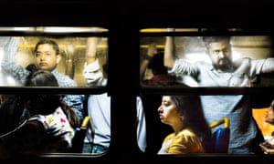Commuters on a bus in Kolkata