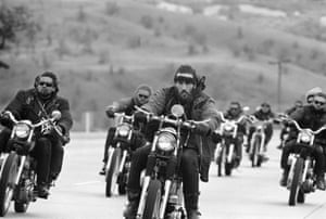 Hell Angels of San Bernardino cruise north towards Bakersfield, California, 1965.