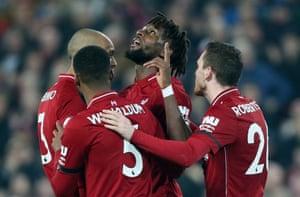 Origi celebrates Liverpool's third goal.
