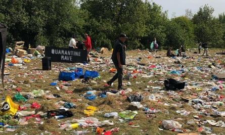 The mess left behind after a rave at Daisy Nook park in Greater Manchester last weekend