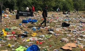 The mess left behind by ravers at Daisy Nook park near Manchester on Saturday.