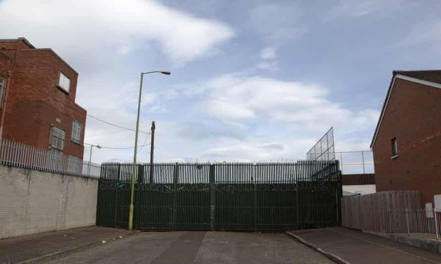 The West Falls Road peace wall between the Catholic Lower Falls and Protestant Shankill areas in Belfast.