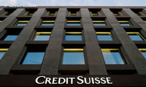 The Credit Suisse logo on a bank in Geneva