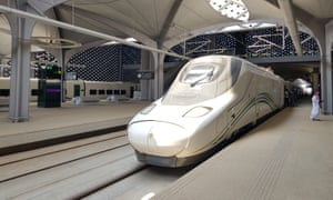 A high-speed train at the new King Abdullah Economic City station near Jeddah.