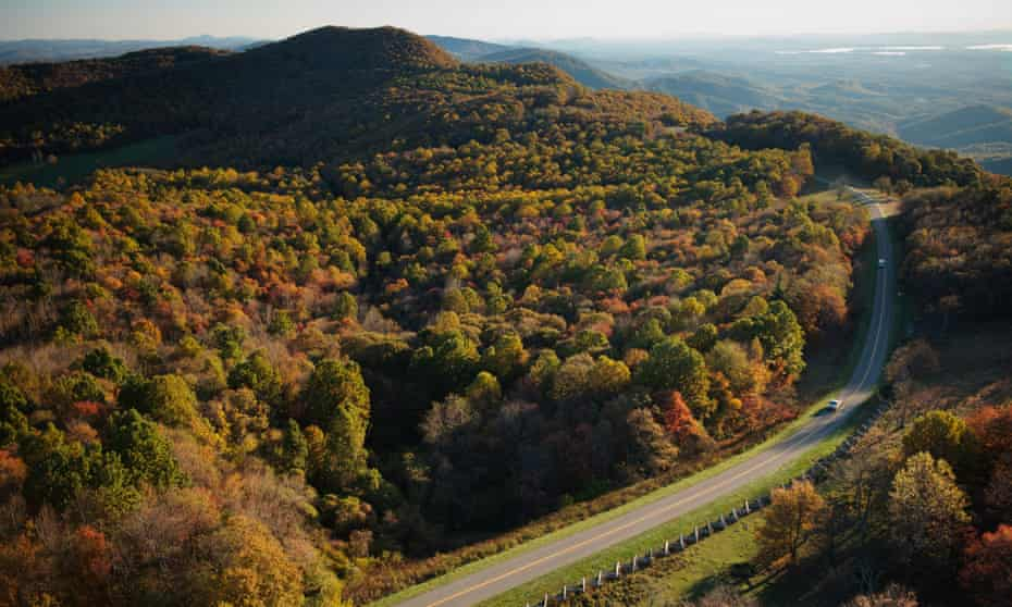 Aerial view along the Blue Ridge Parkway, near Rocky Knob Recreational Area.