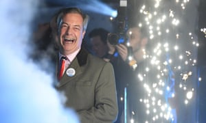 Nigel Farage smiles on stage in Parliament Square, venue for the Leave Means Leave Brexit celebration in Parliament Square.