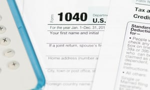 The US tax form 1040 for individual tax returns.