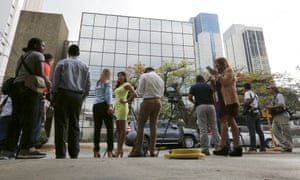 The media outside the offices of Mossack Fonseca after the Panama Papers were leaked